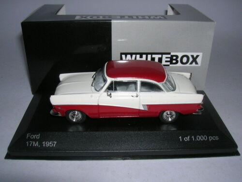 1:43 Lim weiß//rot Baujahr 1957 Whitebox Ford Taunus 17m 1000 Stück P2