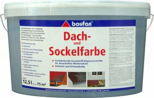 beschichten Dachziegel /& und Sockelfarbe 12,5 L 11 Farb Baufan Dach Pfannen