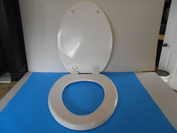 "*proplus Elongated 17 1/2"" White Molded Wood Toilet Seat 100% Garantie"