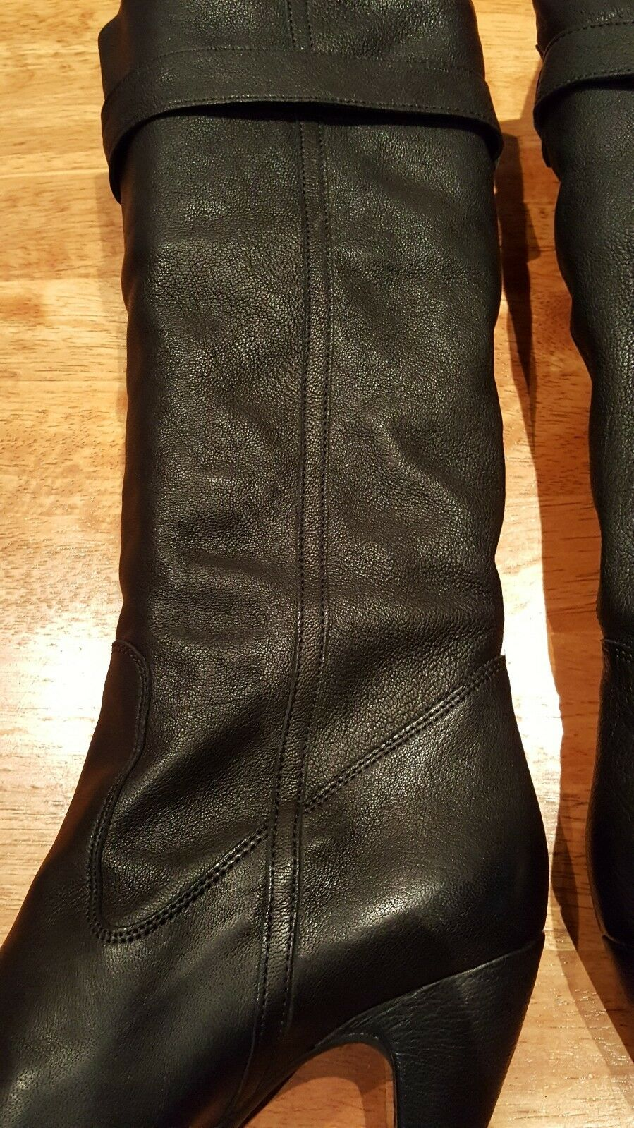 New  FORNARINA Knee Knee Knee High Soft Nubuck Leather Dress Boots Pull-On Black, Sz 9.5 703400