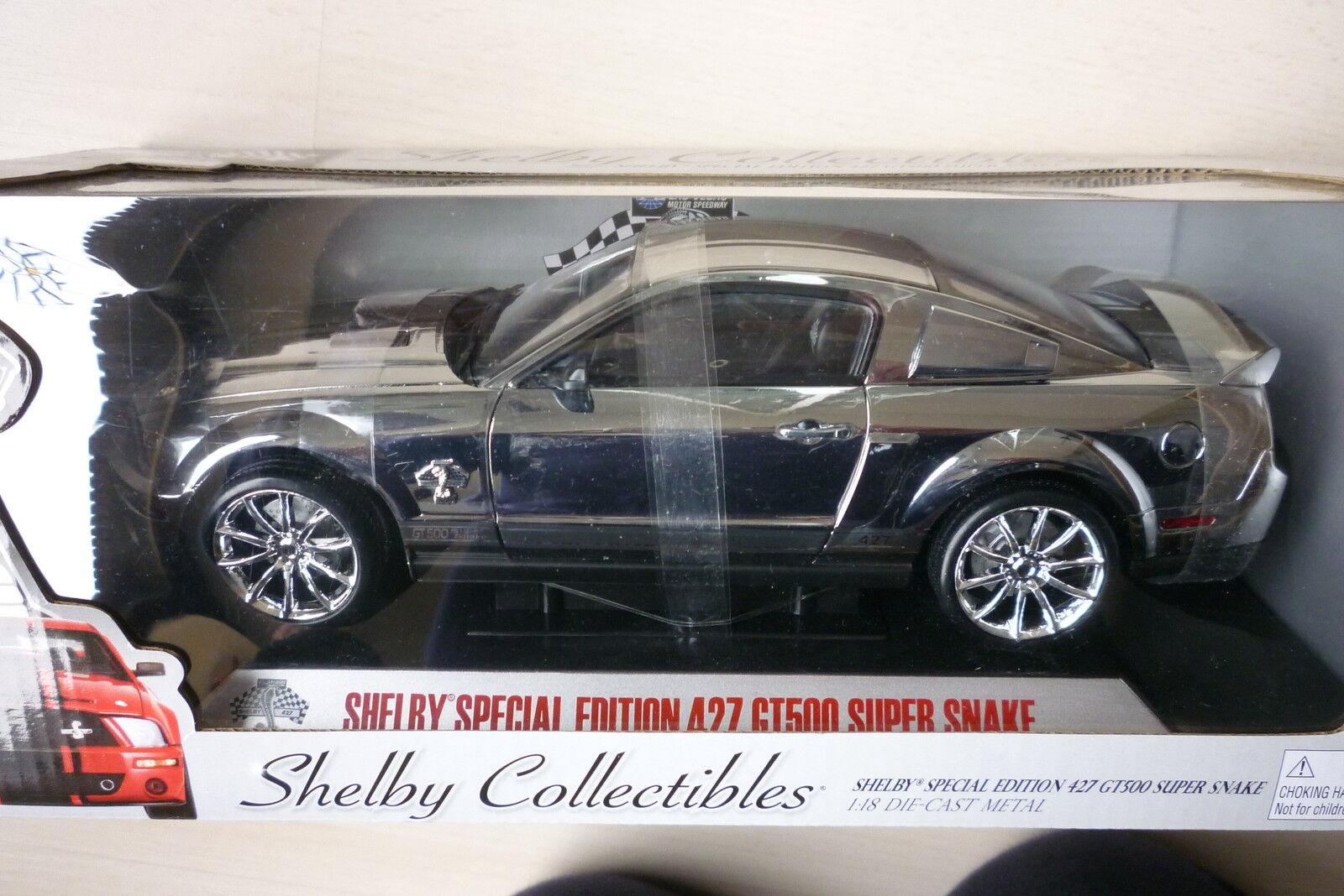 1 18 2008 SHELBY GT500 SUPER SNAKE SPECIAL EDITION 427 CHROME Modelauto - RARE