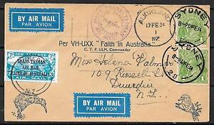 New Zealand covers 1934 1st Flightcover Auckland-Sydney to Dunedin