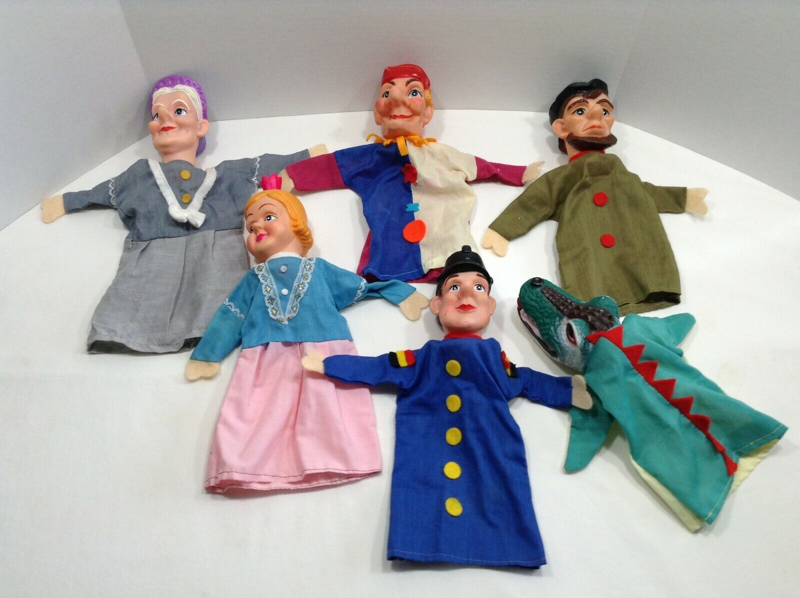 Vintage LOT 6 Hand Puppets Punch Judy 10  -12  Tall Rubber Head Cloth Body