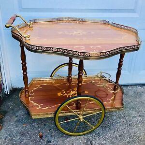 Vintage-1950s-Bar-Cart-Wooden-Inlay-Mid-Century-Modern-Liquor-Rolling-Serving