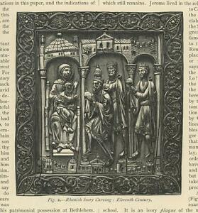 ANTIQUE PRINT ON PAPER OF RHENISH IVORY CARVING THREE WISE MEN MARY CHRIST CHILD