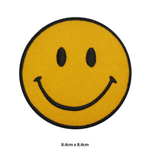 Smiley-Emoji-Disney-Embroidered-Patch-Iron-on-Sew-On-Badge-For-Clothes-etc