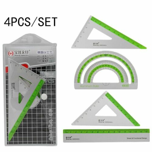 4pcs//set Drawing Measurement Geometry Triangle Ruler UV Aluminum Alloy Ruler Set