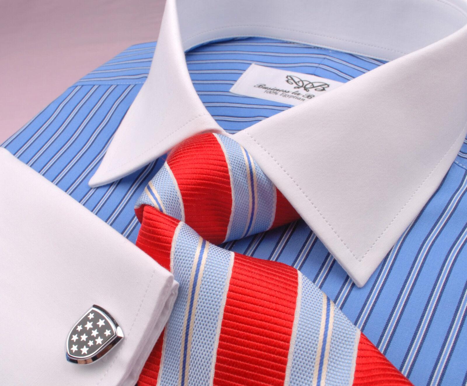 Double Blau Mini Weiß  Herren Boss Contrast Cuff Formal Geschäft Dress Shirt Style