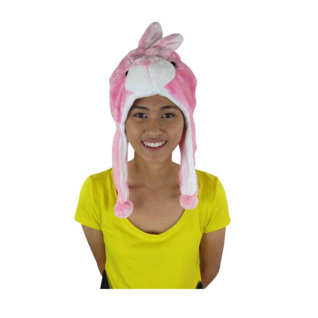 46f7bc53951 Brand New Animal Wild Pink Rabbit Bunny Soft Hood Hoodie Hat Faux Fur  Mittens