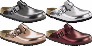 Birkenstock Boston, Women's Clogs, Metallic Silver, 5 UK