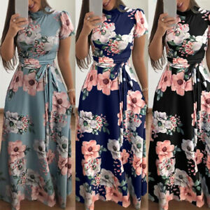 UK-Women-Long-Floral-Casual-Dress-Ladies-Short-Sleeve-Cocktail-Party-Maxi-Dress