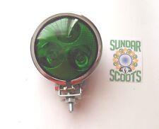 """1 12v 3.5"""" SPOT LIGHT 3 LED BULBS.GREEN LENS CHROMED CASE.LAMBRETTA/VESPA"""