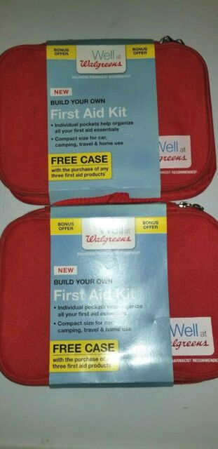 2 X Walgreens Build Your Own First Aid Kit Zippered Bag