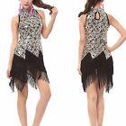 AU Great Gatsby 1920's Flapper Dress Party Clubwear High Neck Cocktail Skirt