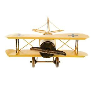 Image Is Loading Vintage Metal Airplane Model Biplane Military Aircraft Home