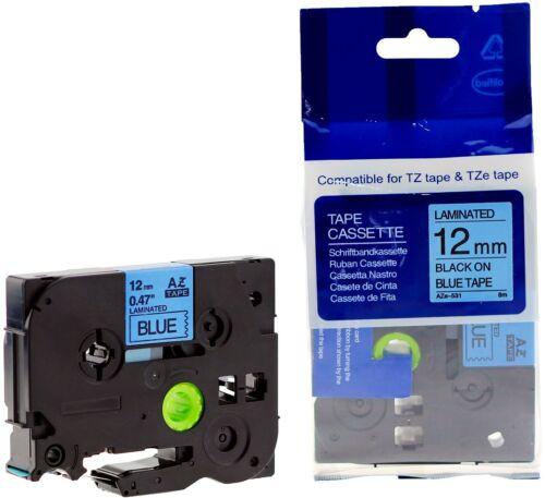 3 kompatible Schriftbandkassette für Brother TZe-531 12mm schwarz auf blau