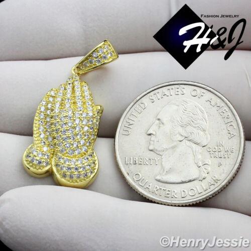 MEN WOMEN 925 STERLING SILVER ICY DIAMOND GOLD PRAYING HANDS CHARM PENDANT*GP114