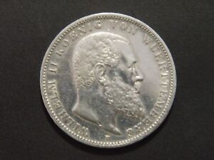 Deutsches Reich 3 Mark Württemberg Wilhelm Ii 1909 F