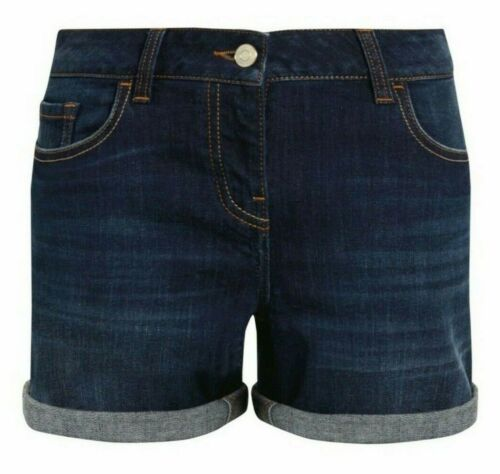 New Ladies Ex Next Boy-Style Fit Jeans Shorts Mid-Rise Denim Blue Sizes 6 to 20