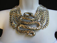 Women Silver Metal Chains Big Snake Egyptian Fashion Necklace + Earrings Set