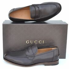 GUCCI New sz UK 11.5 - US 12.5 GG Logo Mens Leather Dress Loafers Shoes brown
