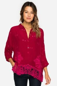 Johnny-Was-Red-Eyelet-Whitley-Scalloped-Blouse-Top-C11817-Plus-Size-New-PGS