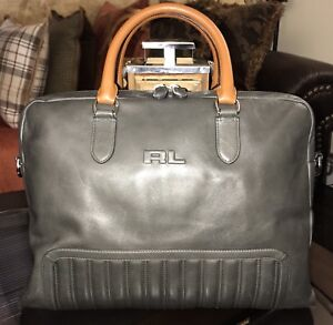 60b6597d5b56 Ralph Lauren Black Label Gent s Quilted Leather Briefcase GRAY w ...