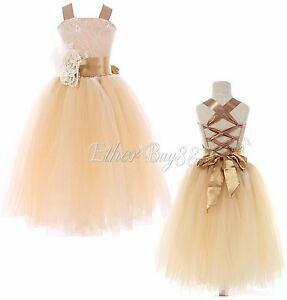US-Flower-Girl-Kid-Princess-Birthday-Party-Wedding-Bridesmaid-Pageant-Tutu-Dress