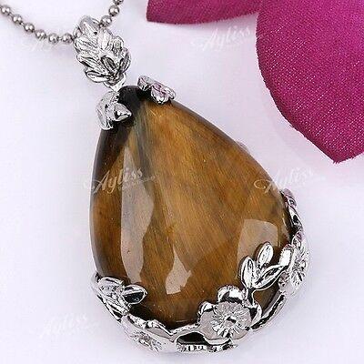 Gemstone Crystal Inlaid Waterdrop Flower Pendant Reiki Healing Bead Fit Necklace