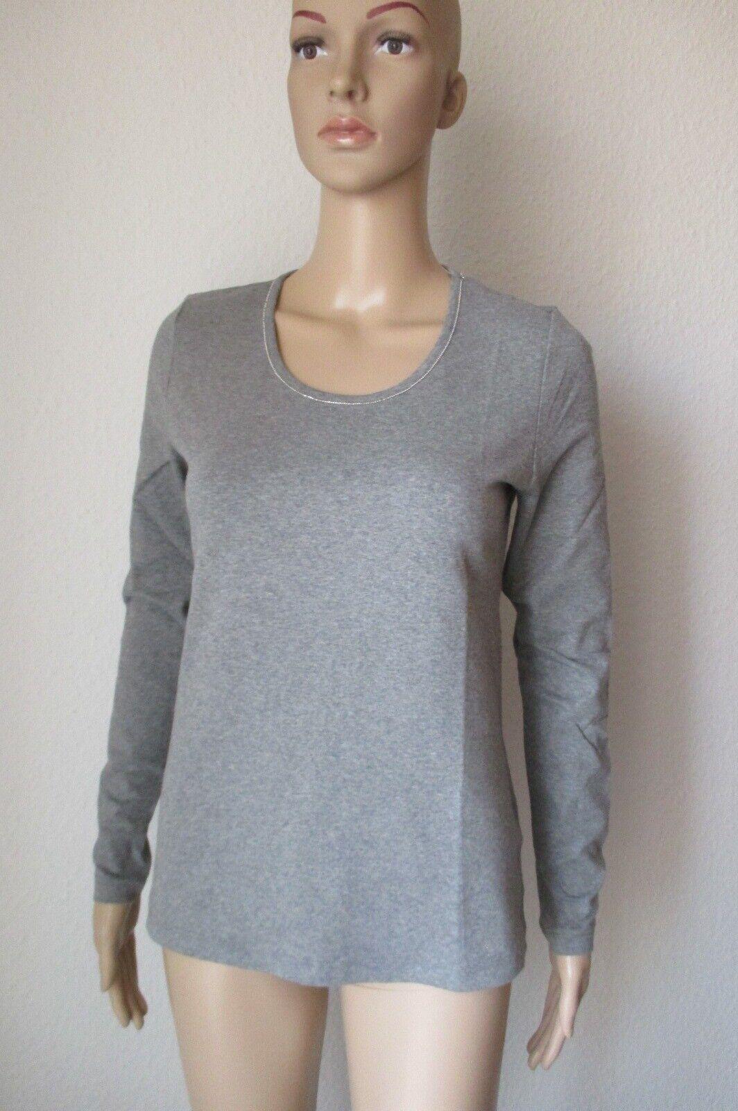 Zaida  Shirt mit Rundhals Ausschnitt, langarm, Farbe grau, Größe 36