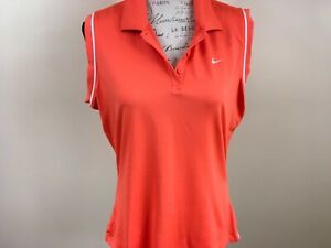 Nike-Dri-fit-Golf-Polo-Women-s-Extra-Large-Orange-White-Accent-Trim-Sleeveless