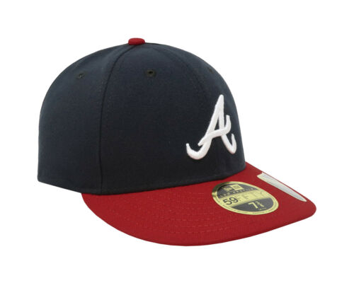New Era 59Fifty Mens Cap Atlanta Braves Low Profile Navy Blue Red Fitted Hat