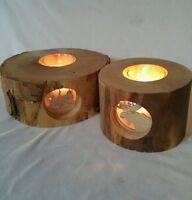 Rustic Spinning Aspen Wood 2 Candle Holders Log Cabin & Moose On See Thru Glass