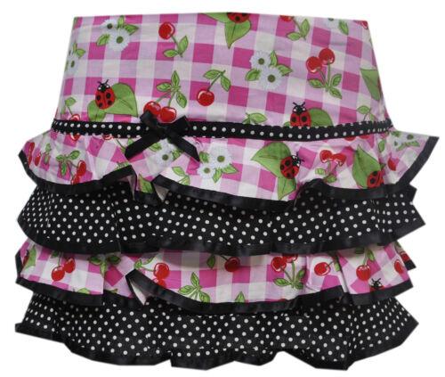 Hell Bunny St Tropez Cherry Check Tartan Pink Black Summer Mini Skirt Small UK 8