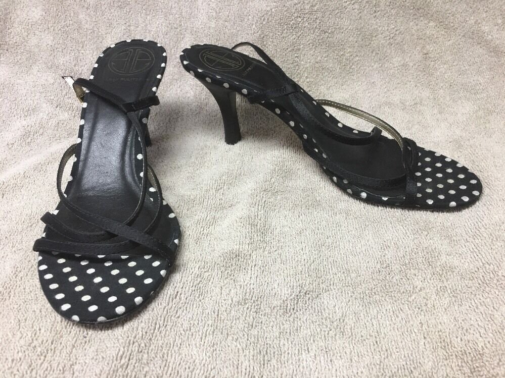Lilly Pulitzer Sandals Black Polka Dot Strappy Sandals Pulitzer Heels Shoes Women's 7 e65aa9