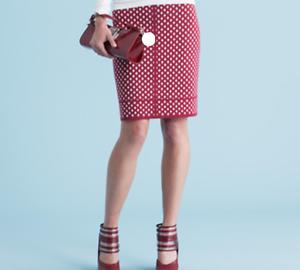 Worth New York Ruby And Off White Diamond Jacquard Skirt 100% Wool  Sz M