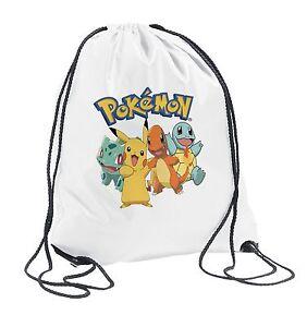 e8ac90b3ecc5 Image is loading Pokemon-Drawstring-Bag-PE-School-boys-Girls-Birthday-