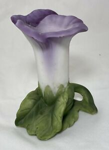 Lefton-Hand-Painted-Bisque-Porcelain-Purple-Floral-Bud-Vase-KW2499-Vintage-Japan