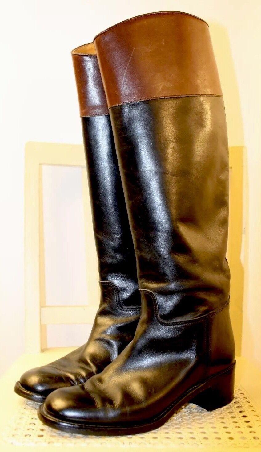 RALPH LAUREN Collection Leather Equestrian Equestrian Equestrian English Riding bottes 6.5B ITALY Rare 7d1684