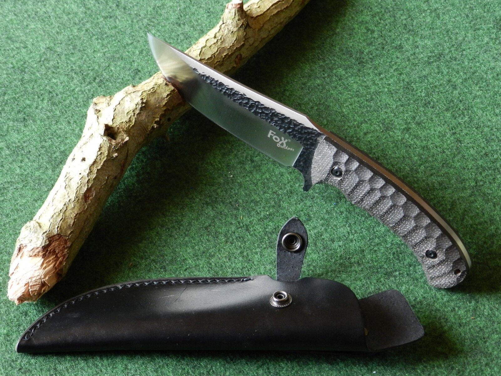 FOX Outdoor,  Gürtelmesser, Messer, Gürtelmesser mit Lederscheide, Jagdmesser  | Authentisch