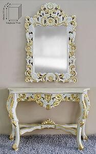 Consolle E Specchiera.Dettagli Su Consolle E Specchio Entrata Legno Decoro Avorio E Oro Mobili Specchiera Marmo