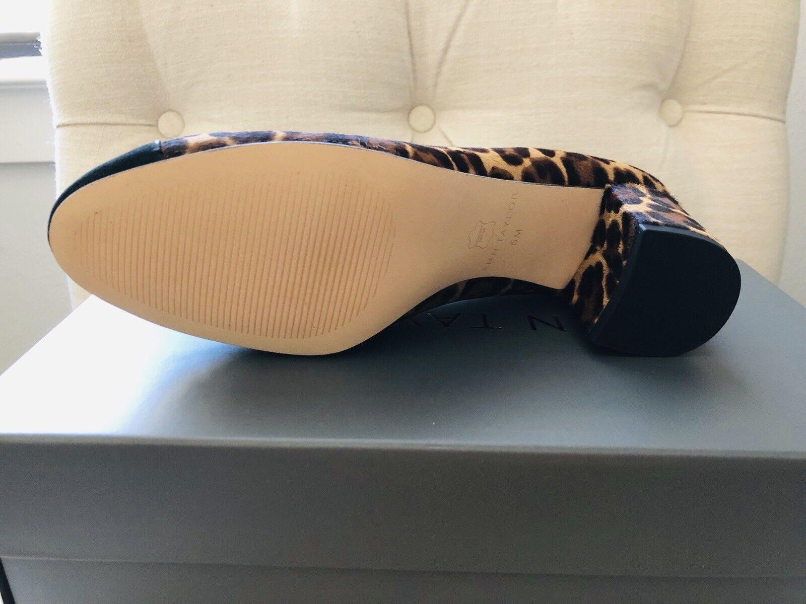 NIB Ann Taylor Odelia Leopard Print Haircalf Cap Cap Cap Toe Pump - Size 5 b8cac4