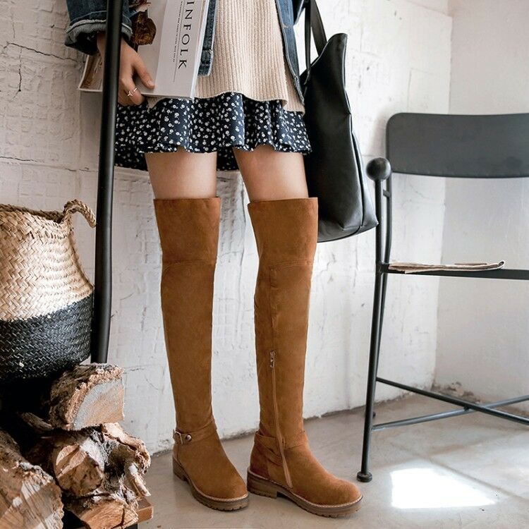 Womens Knee Fashion Faux Suede Buckle Strap Block Heels Knee Womens High Knight Boots Size dec398