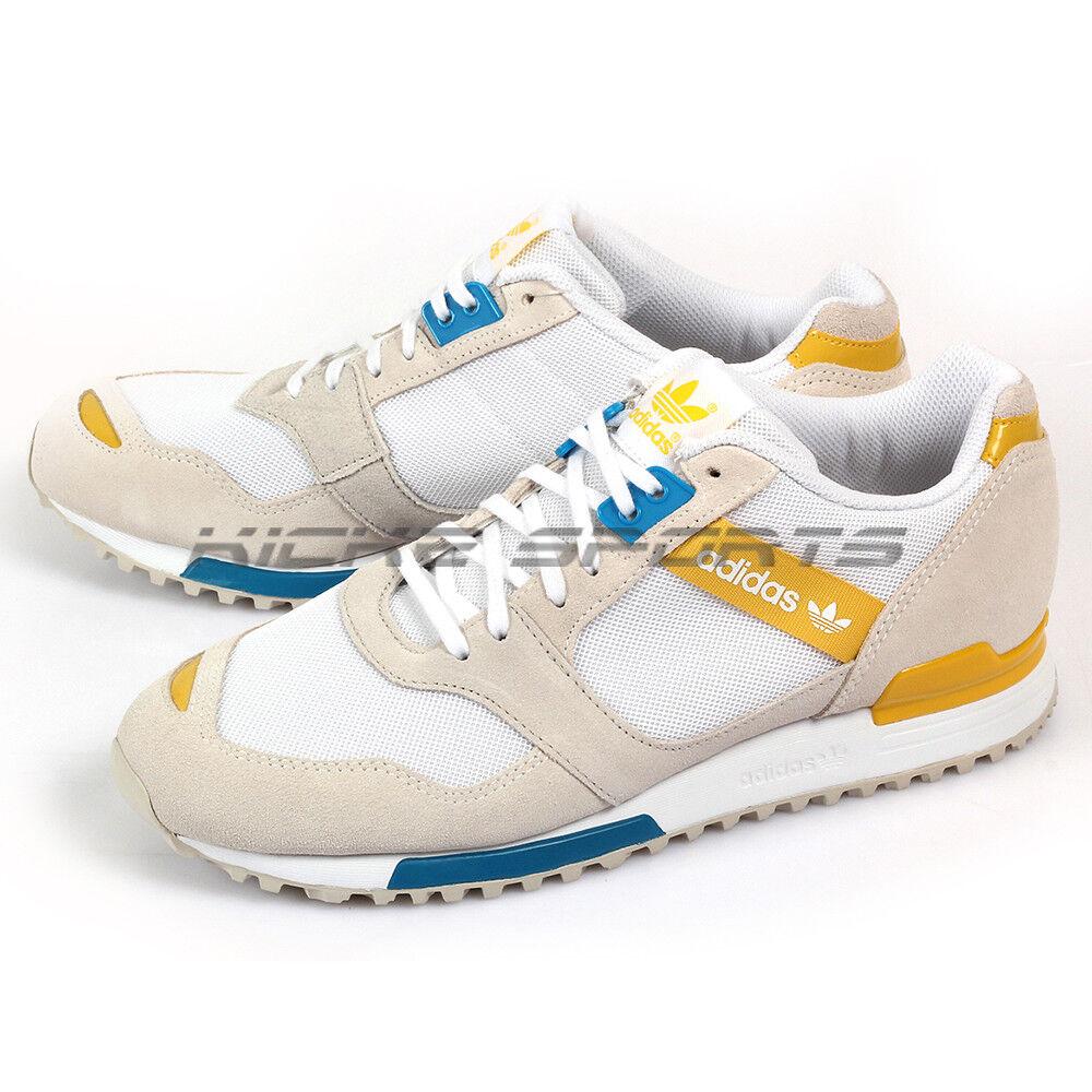 Adidas Originals ZX 700 Contmp W bianca blu giallo Retro Trainers D65404
