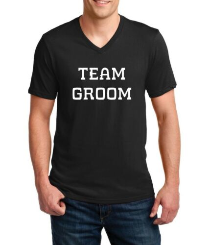 Men/'s V-neck Team Groom T-Shirt Bridal Party Bachelor Shirts Wedding Funny Tee