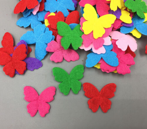 200 Stück Mischfarbe Schmetterlings Filz Die Cut Dekoration Appliqués 30mm