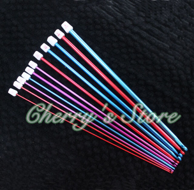 "11pcs 10.6"" multicolour Aluminum TUNISIAN / AFGHAN Crochet Hooks Needles 2- 8mm"