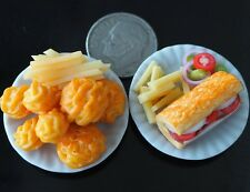 Dollhouse Miniature 2 Foods on Plate Fried Chicken French Fries Subway Food Deco