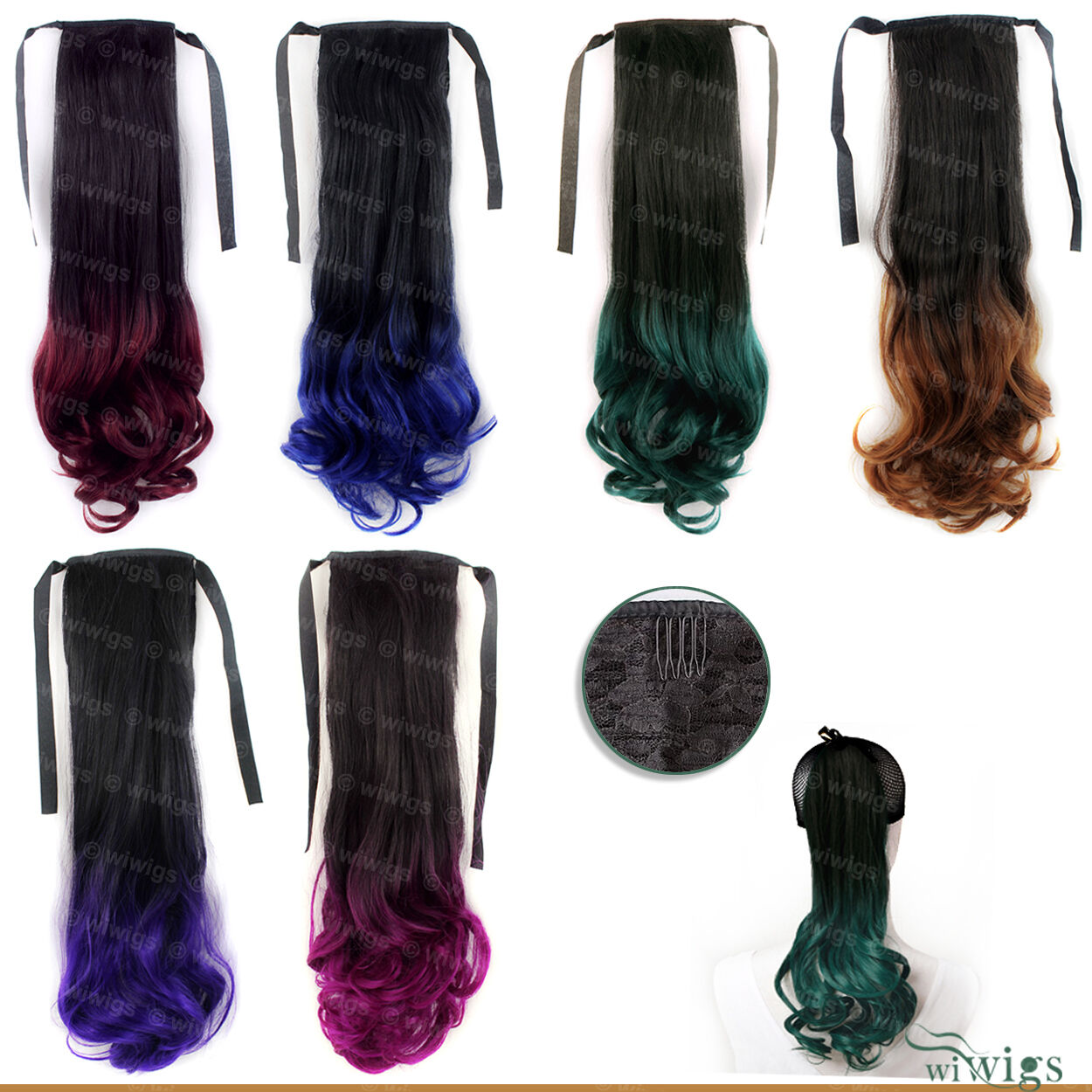 Wiwigs Dip Dye Ombre Black Green Red Blue Purple Hairpiece Ponytail