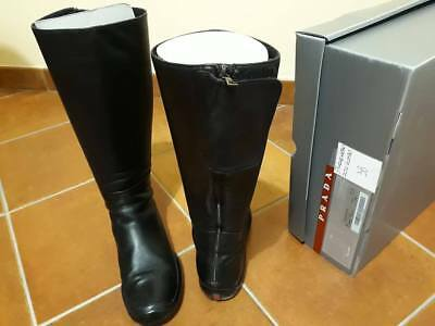 San Francisco a832f 9c332 PRADA Women Boots 3w0789 Black 38 100% Leather Leather | eBay